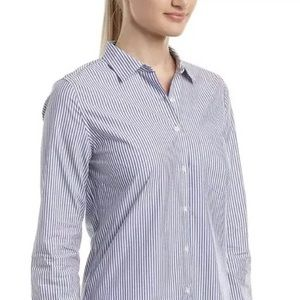 UNTUCKit Button Up blue white stripe Top Size 2